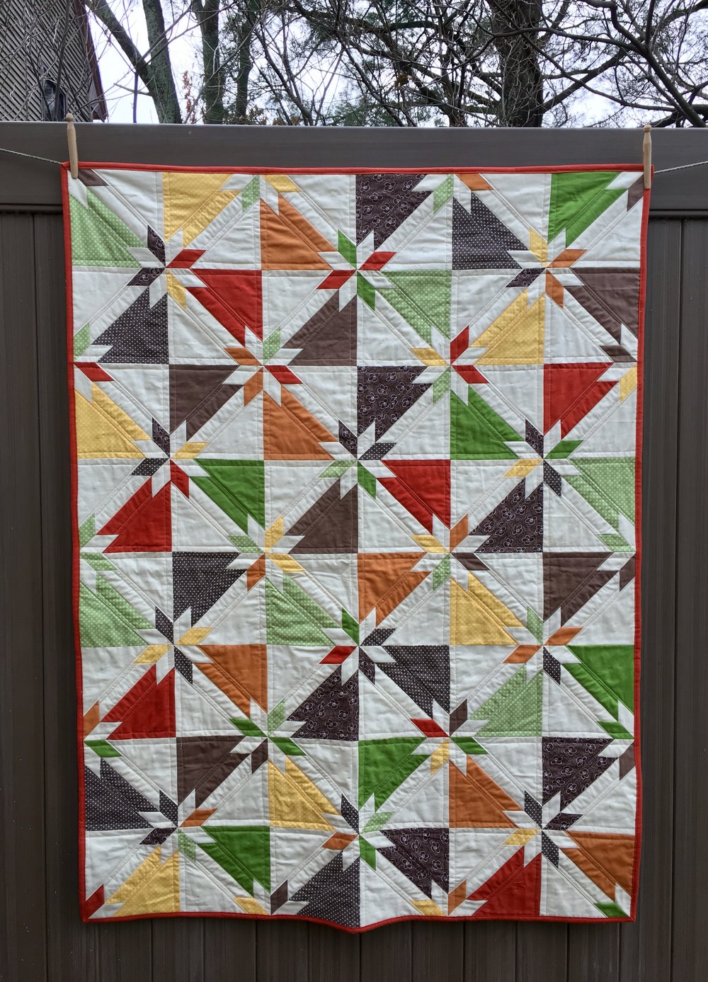 Autumn Hunter's Star Quilt 43 x 57 inches