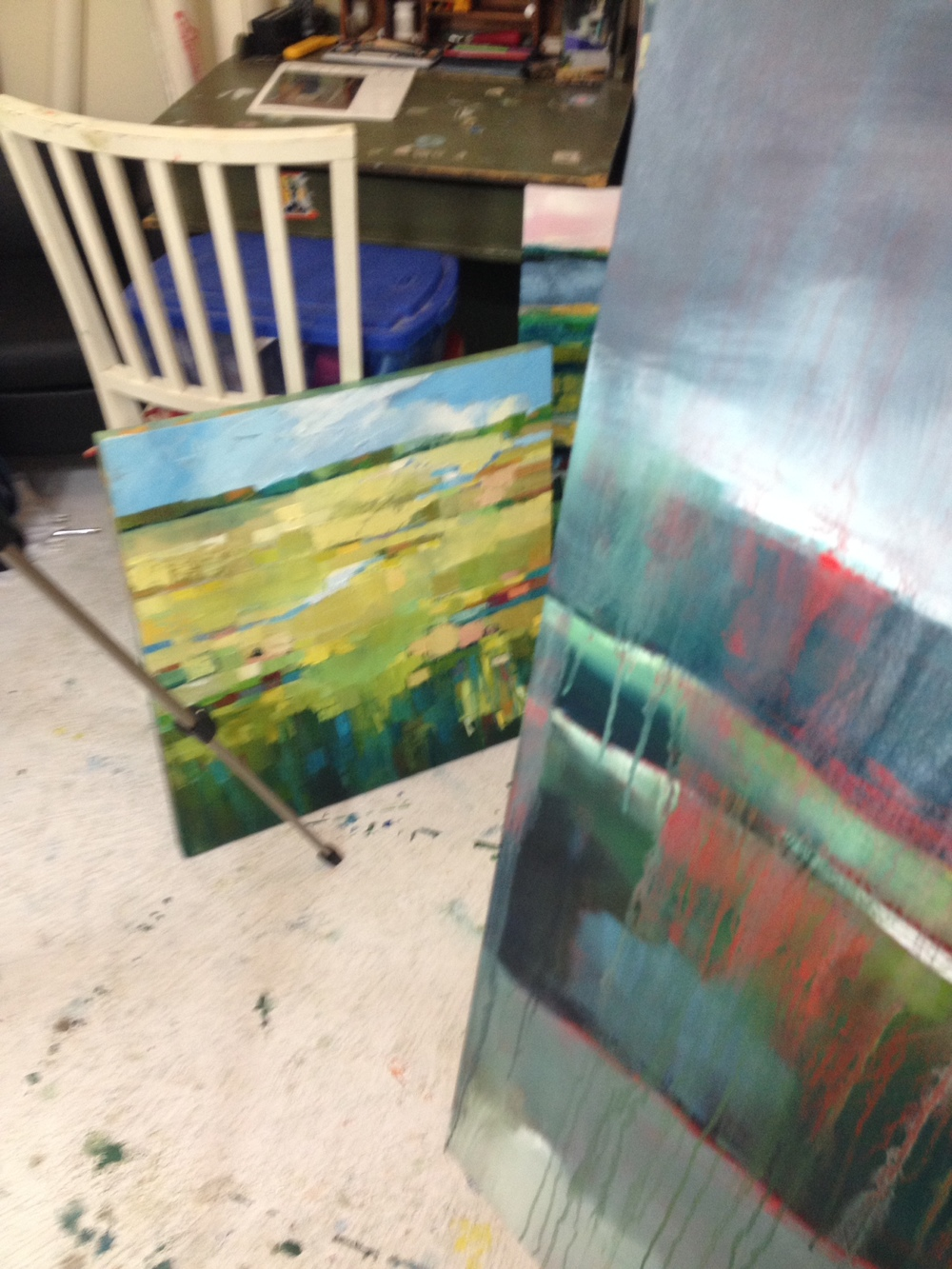 paintings in process