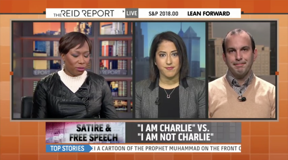 I appeared on MSNBC's The Reid Report to discuss my POLITICO article 'Je Ne Suis Pas Exactement Charlie.' You can watch the segment  here .