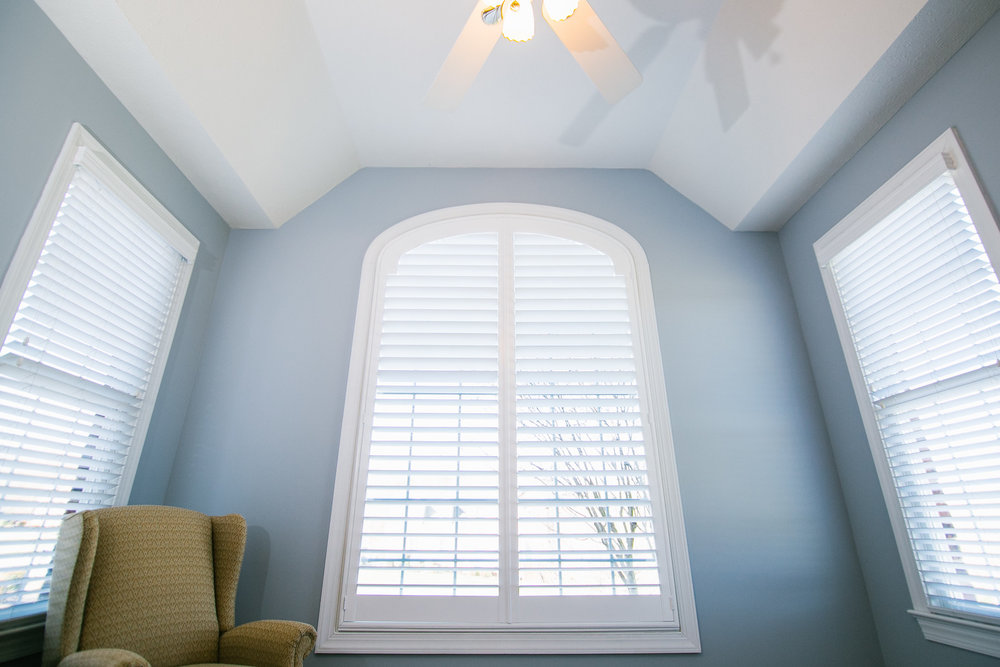 Thompson Home - Arched Plantation Shutters