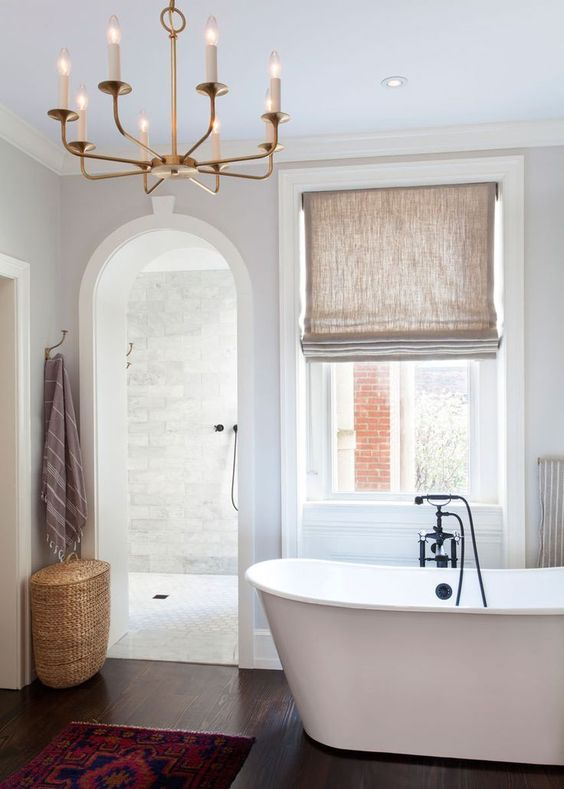 Bathroom Fabric Roman Shade