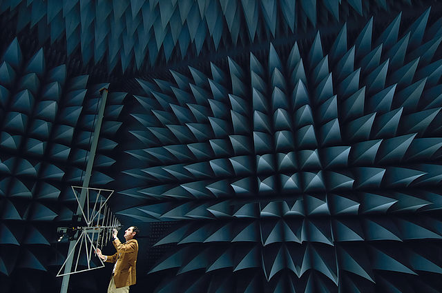An anechoic chamber, used to prevent echoes. Arup's  SoundLab is not quite as extreme , but it still does the same job. (Image ©PromoMadrid, author Max Alexander)