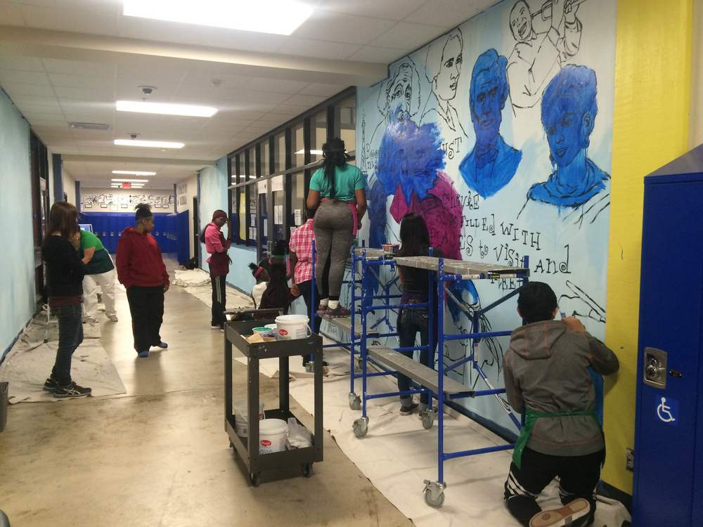 Working on the mural last Tuesday at Franklin Middle School