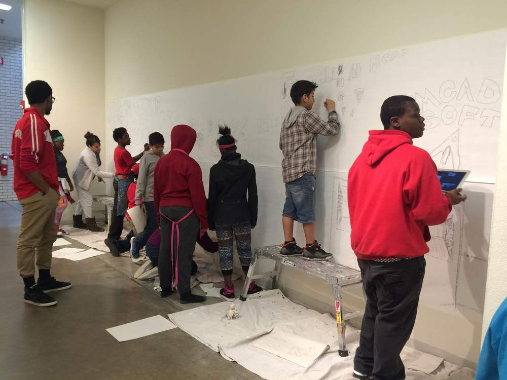 Beginning to sketch for the temporary mural at MCAD!