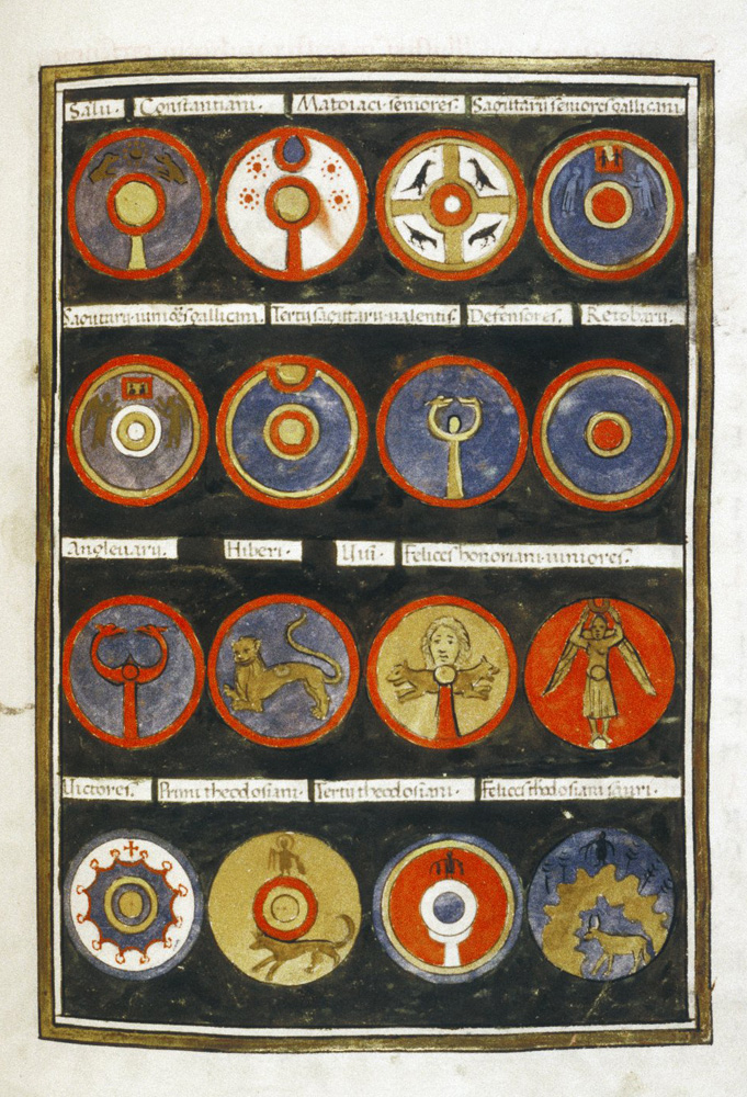 A selection of shield designs from the  Notitia Dignitatum , each shield representing a different unit.