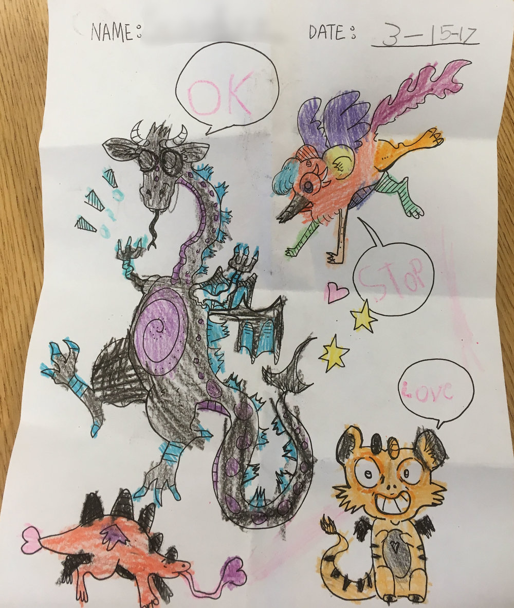 I love the way this student used colors in my dragon coloring picture!
