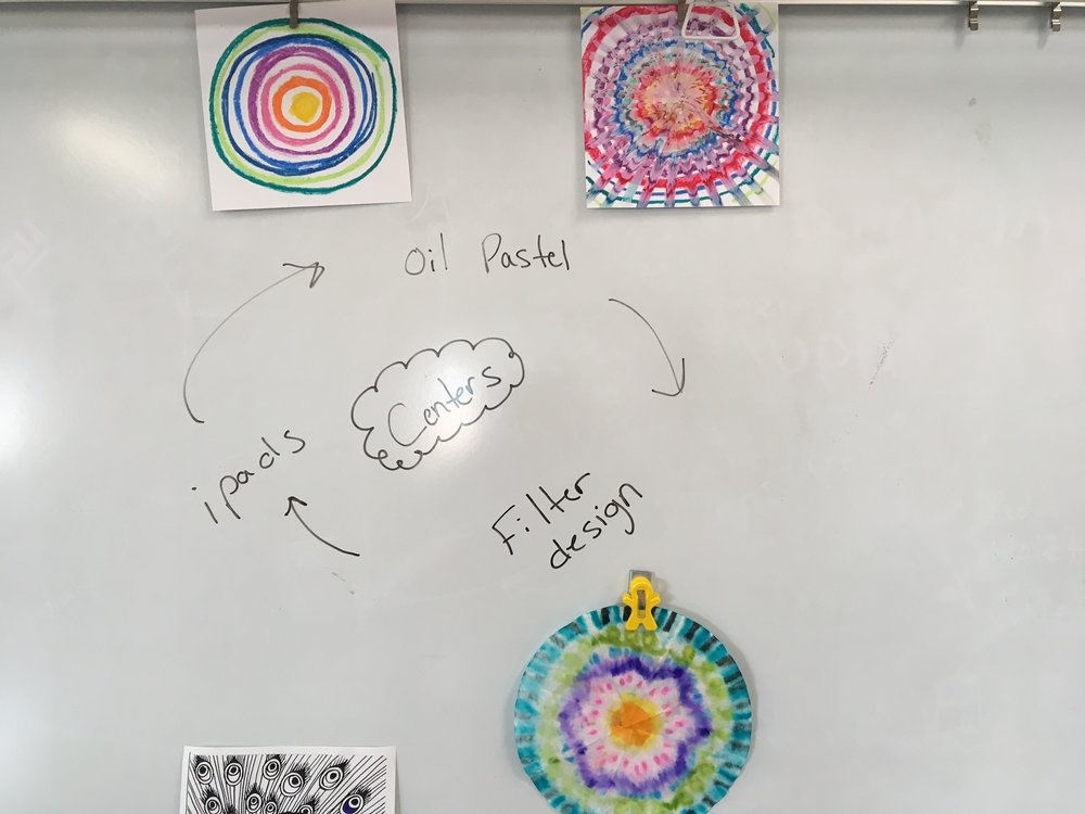 Here are some example of the centers we did. The top being the example of oil pastel blending and the bottom being the coffee filter radial design.