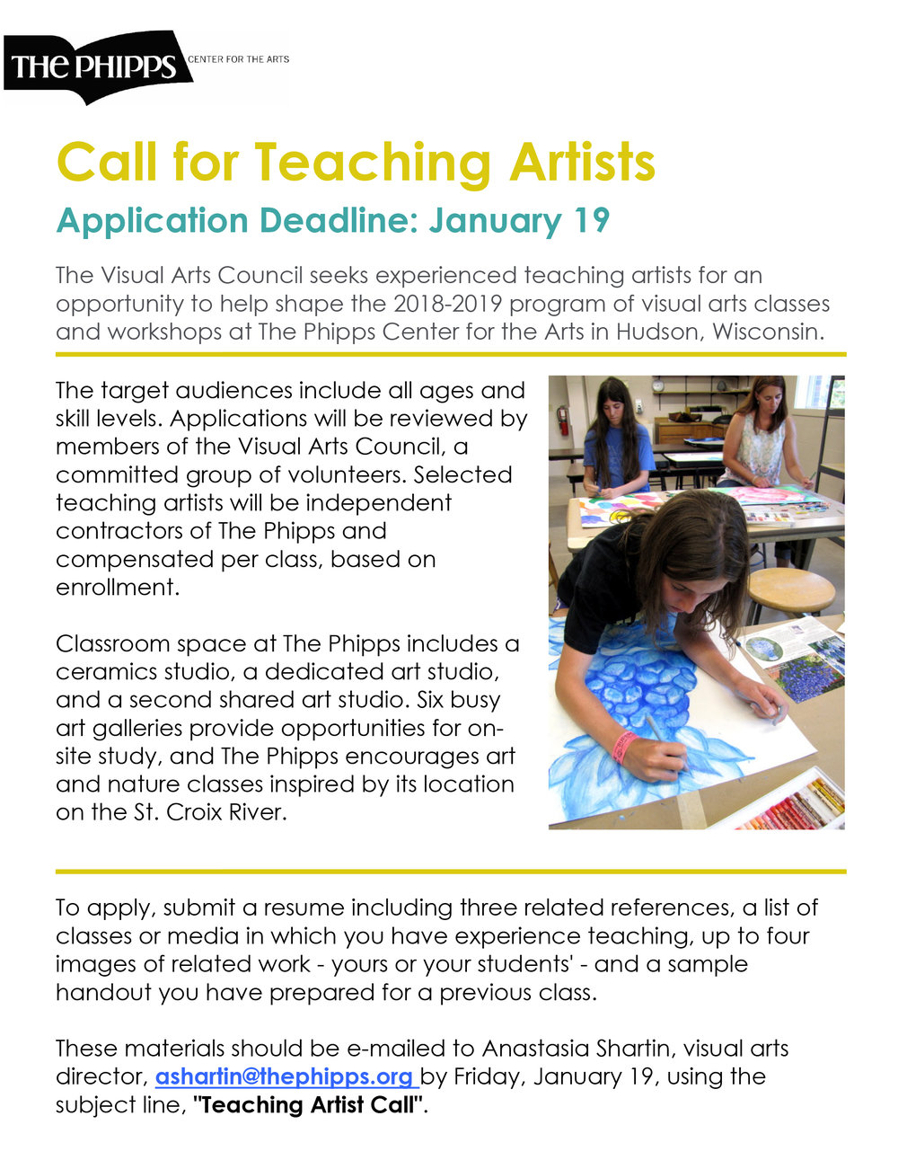 The Phipps Call for Teaching Artists