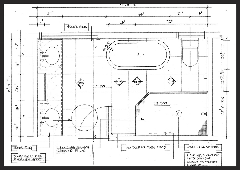 Typical bathroom floor plan