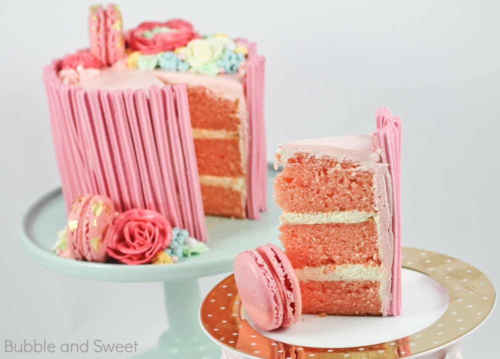 Strawberry Layer Cake Recipe best easy yummy and cream chobani yogurt pink ombre.jpg