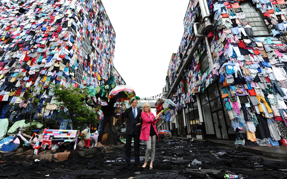 Marks & Spencer's 'Schwopping' wall in Brick Lane London depicting the amount of clothing we throw into landfill every 5 minutes – almost 10,000 items. Photograph: HelloUnity.com