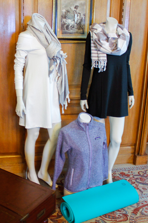 Wrapped up in Marie Hell dresses and Luks Linen scarves. The shorter companion sports a Patagonia fleece.