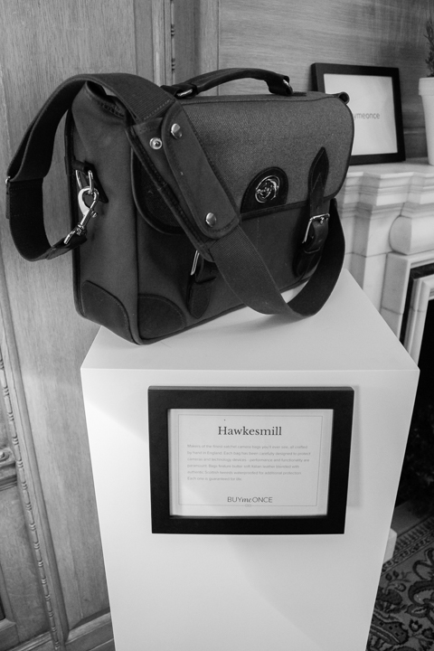 A few of our favourite brands were showcased on plinths. Here we have the lifetime guaranteed Hawkesmill camera bag.