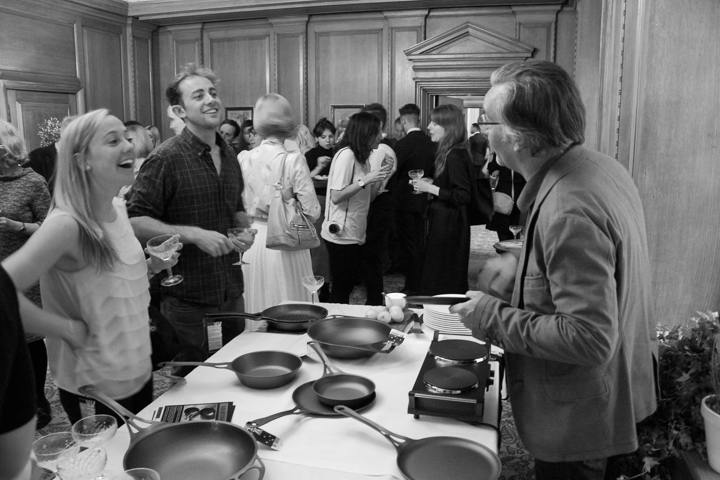 Zoe and David from the SunGod team share a laugh with Solidteknics' Mark. Those pans just sat there all night, looking gorgeous.