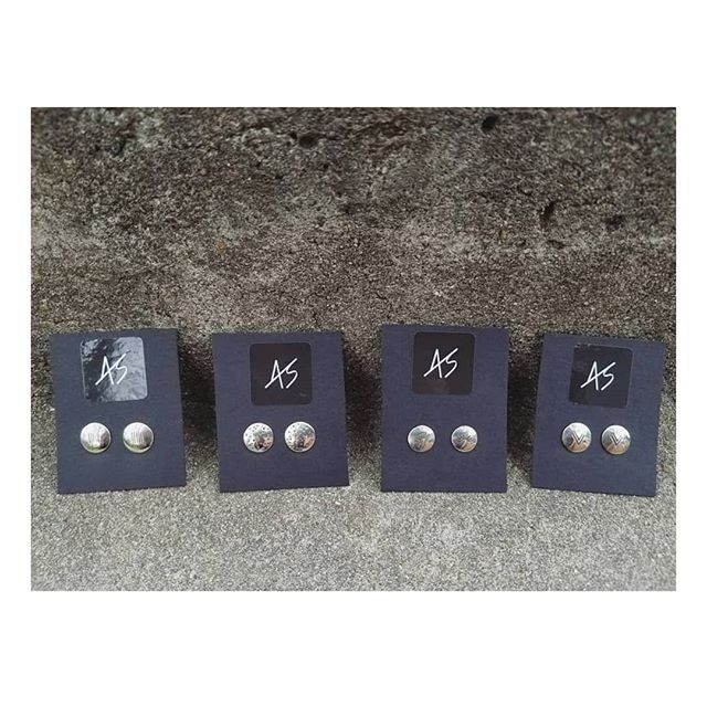 Hand-stamped sterling silver studs in a few different shapes. Perfect stocking stuffers. ;) . . . . #asharpdesign #smallbusinesssaturday #shoplocal #shophandmade #metalsmith #sterlingsilver #earrings #denver #denverart #stockingstuffers #handmadejewelry #silverjewelry #jewelryartist #handstamped