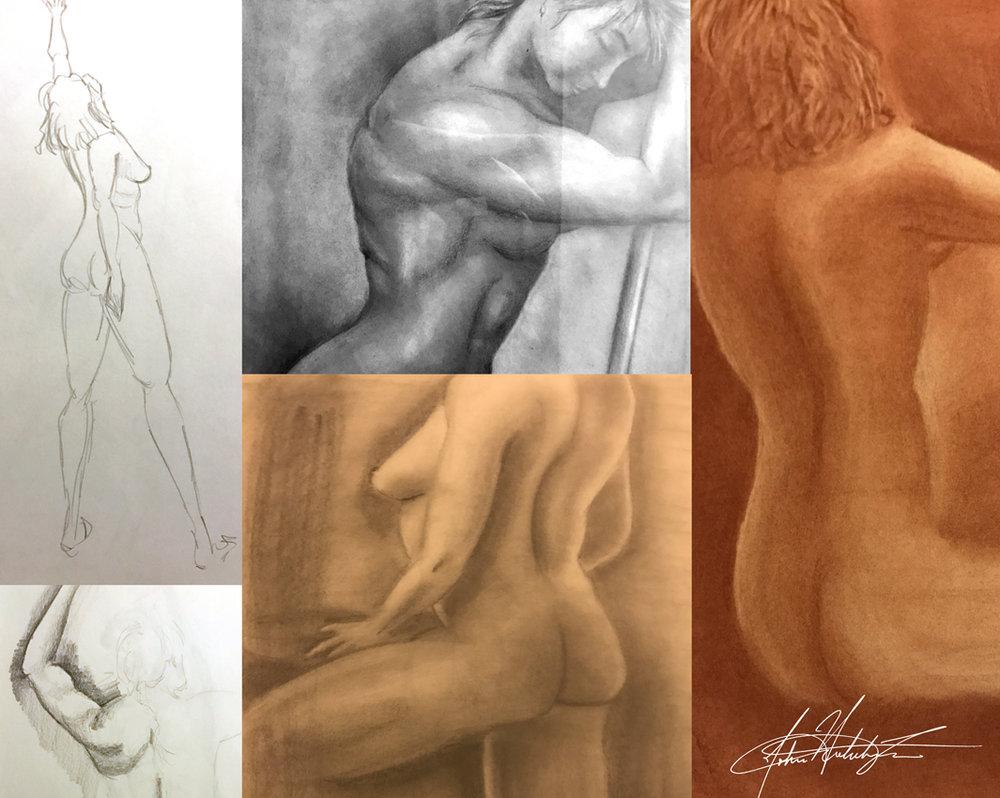 Sketchbook selections of charcoal figure drawings c.1997.