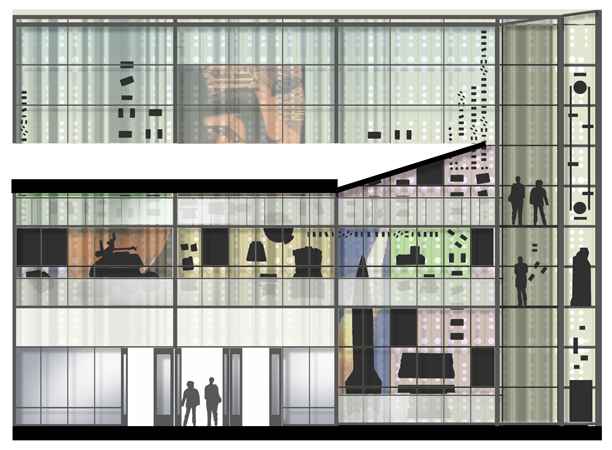 Early 2000s design study elevation for museum exterior.