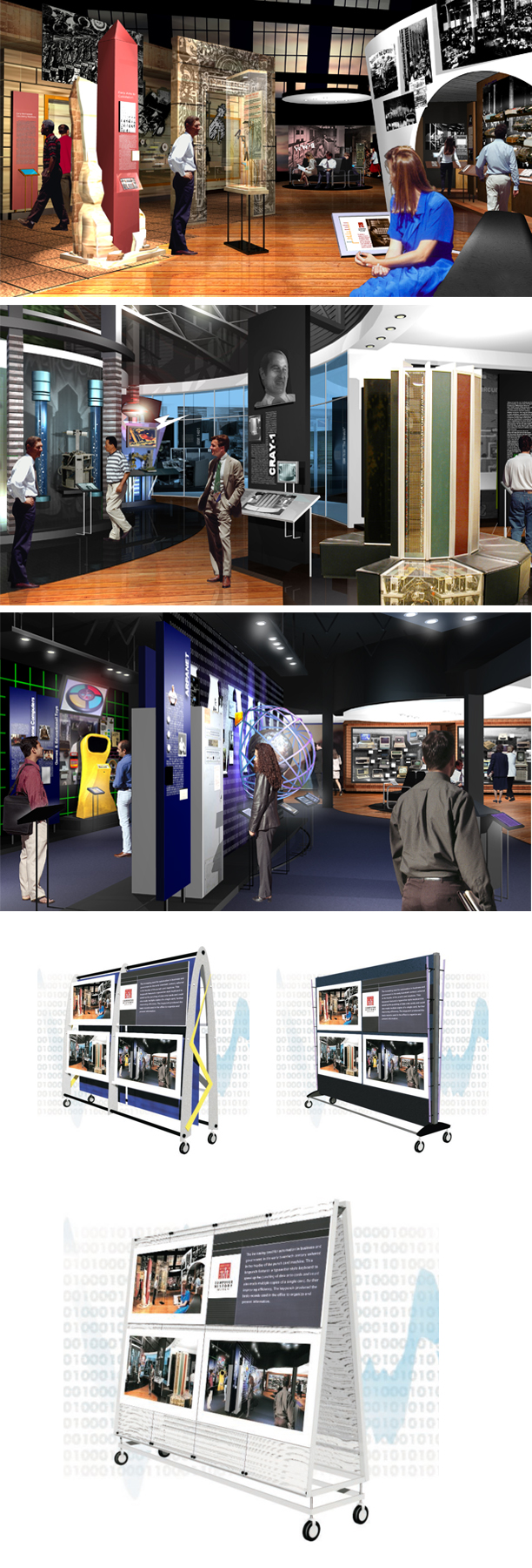 Early 2002 fundraising renderings for the permanent collection exhibit and concept renderings for rolling display carts used to display and transport large foam-core mounted prints of the renderings.  The larger cart image was built.