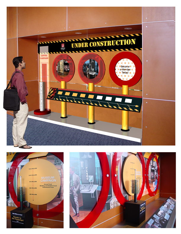 2005 Renderings for the Timeline exhibit were featured as visuals in an exhibit dedicated to tracking fundraising progress for the exhibit.