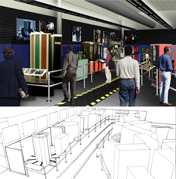 2004 Renderings created for the Visual Storage exhibit that housed many of the featured artifacts of the Revolution exhibit while fundraising efforts were underway.