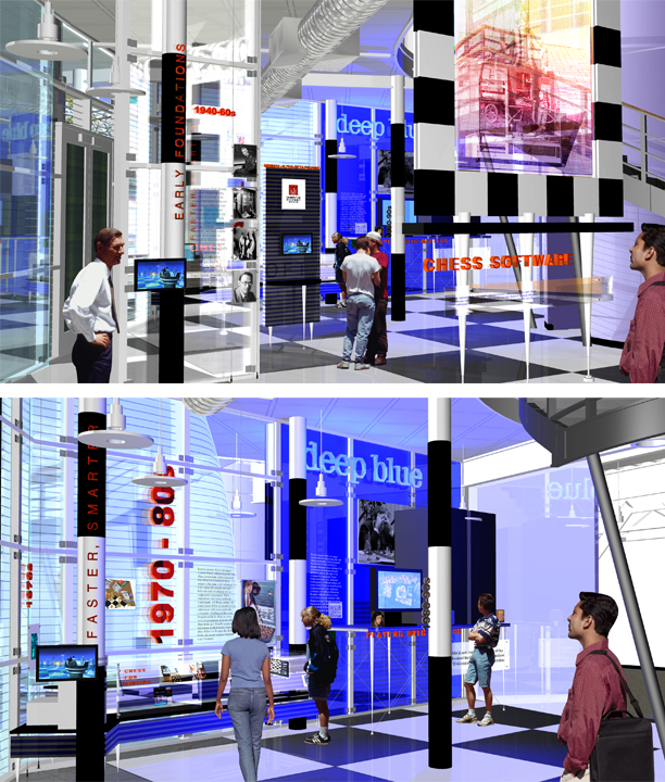 Renderings for computer chess themed exhibit that first occupied the CHM changeable exhibit space in 2004.