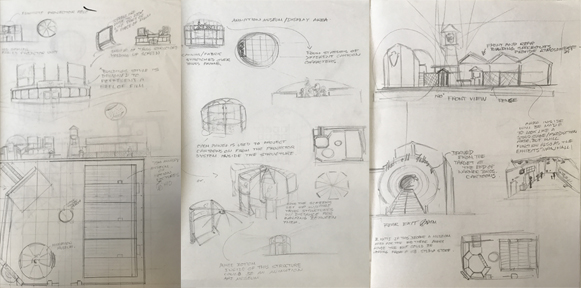 Early concept sketches for an animation museum concept.