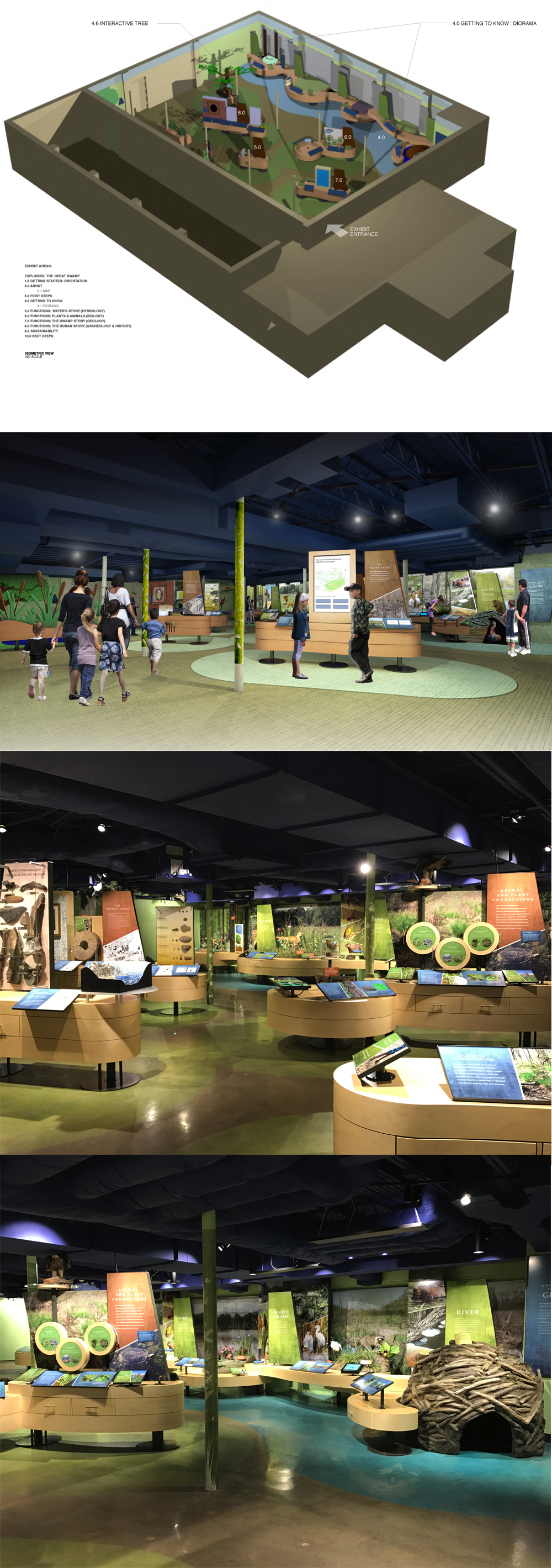 Isometric view of exhibit concept, final design rendering, and photos of installed exhibit.