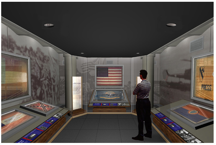 Final design rendering for co-designed Hall of Valor display space for Georgia State Capitol Museum historic battle flag collection.