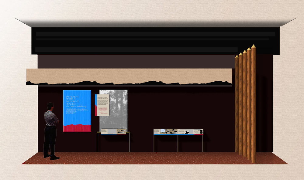 """An early elevation I developed, working with the principle designer, to illustrate the """"kit-of-parts"""" that would be used to create much of the exhibit."""