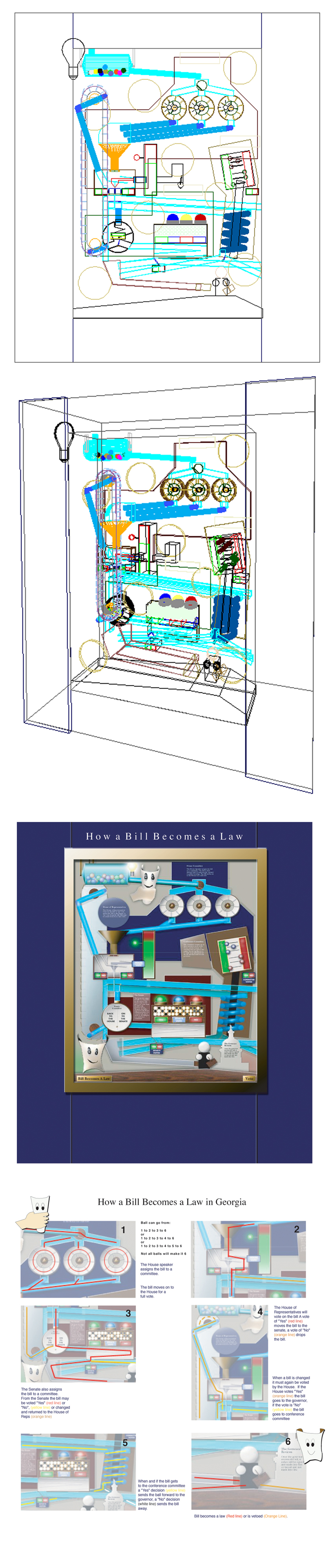 Design development drawings for How a Bill Becomes a Law exhibit.