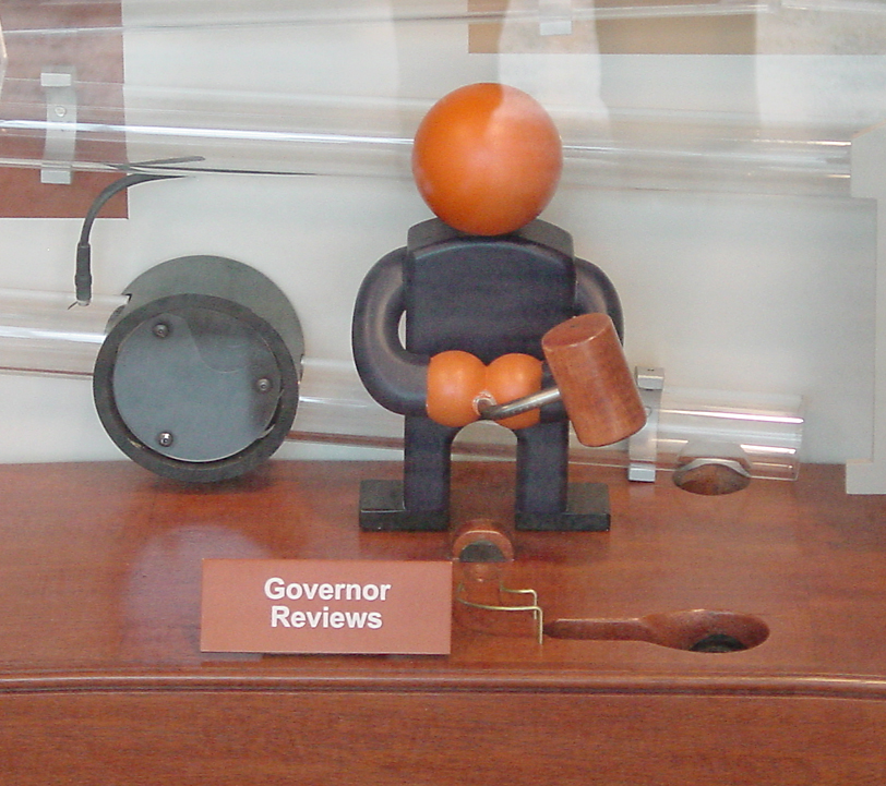 Detail of the Governor - Last step in the How a Bill Becomes a Law exhibit. The Governor swings his Mallet left or right and which determines whether visitors see their bill becomes a law or is vetoed (if their bill made it this far).