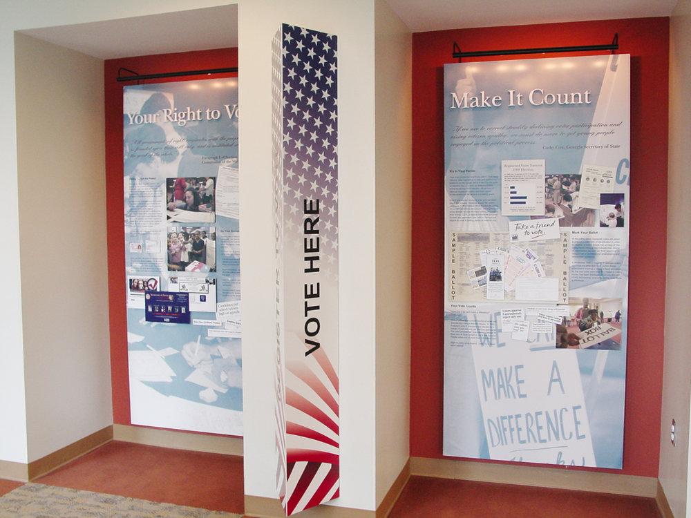 Photo of installed Voting exhibit.
