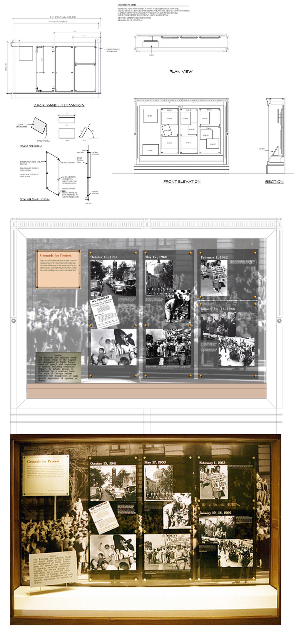 Case detail, layout, and finished photo for 1 of 2 cases related to citizen protests.