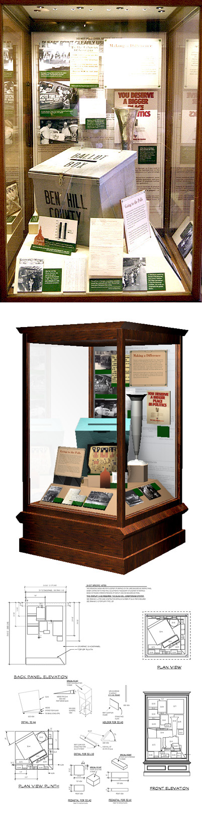 3D rendering, detail, and photo of finished case that focused on voting stories and objects.