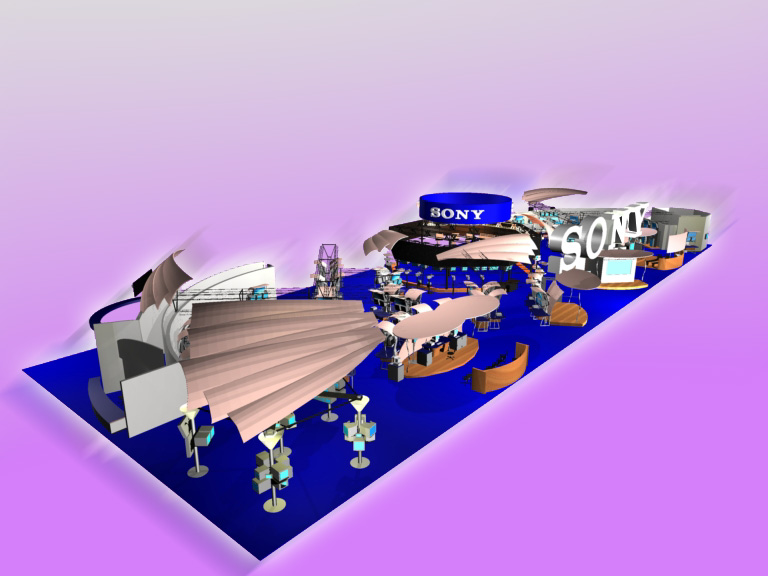 Booth rendering for Sony's NAB 2000 booth.