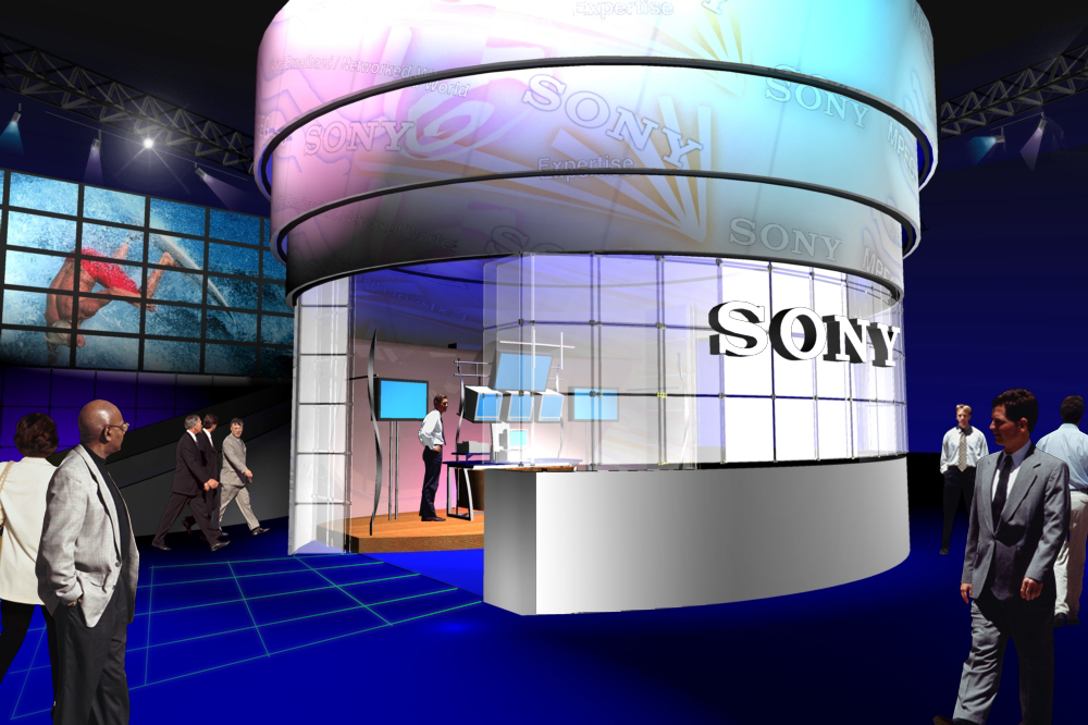 Early presentation stage concept rendering for 2001 NAB booth design concept for RFP response.