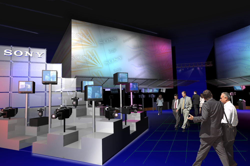 Display concept rendering for 2001 NAB booth design concept for RFP response.
