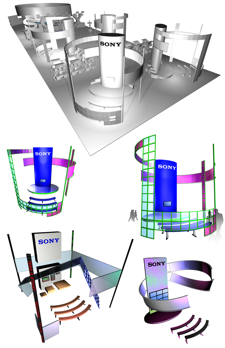 Early design sketches for NAB 2001 booth design concept.