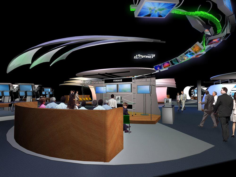 NAB 2001 booth design presentation stage rendering.