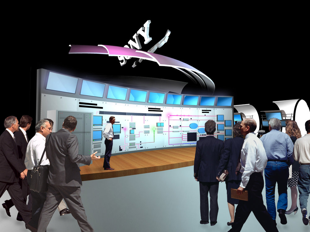 NAB 2001 booth design main presentation stage rendering.