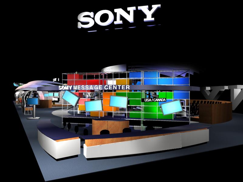 NAB 2001 booth design information desk rendering.