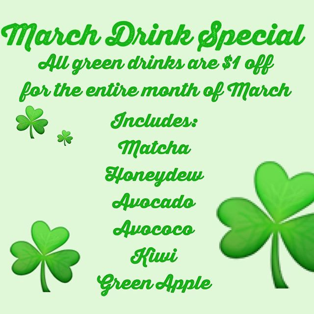 March drink special!🍀