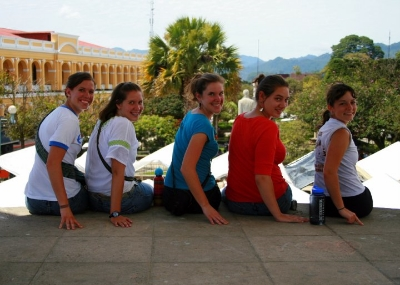 A group of us girls seated in the Cobán city center enjoying the view.