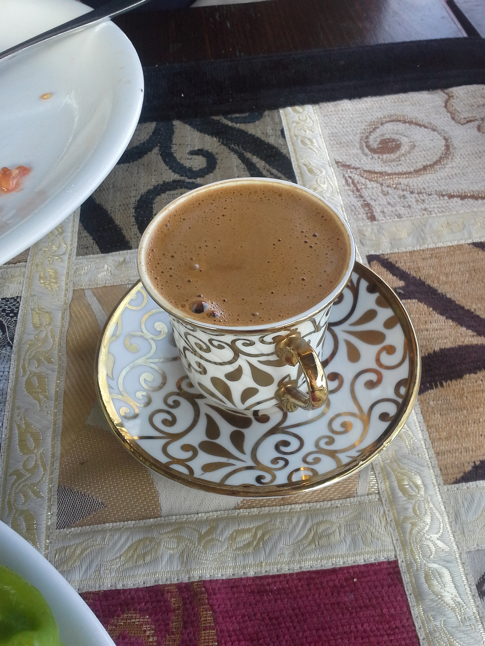 At the advice of a friend, Kyle ordered a Turkish Coffee with lunch. It may be small, but it's mighty! That stuff was powerful!! I didn't like it; Kyle  loved  it and has even attempted to duplicate it at home with our French press.