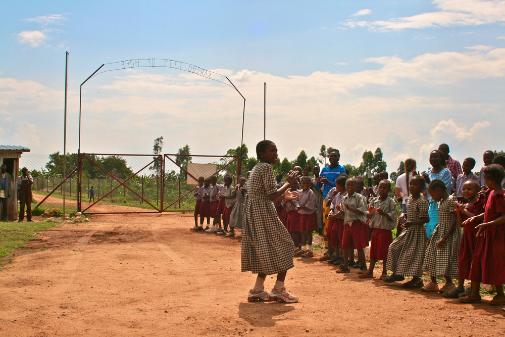The City of Hope Children lined up to sing and welcome a new visitor in 2010.