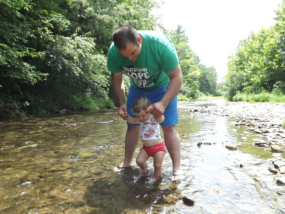 Little A creek walking with Daddy for the first time <3
