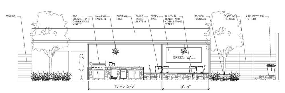 Shade structure and bbq counter concept.