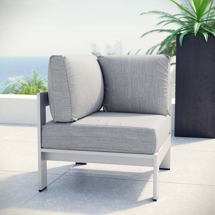 Mandalay Outdoor Aluminum Corner Chair In Silver Gray