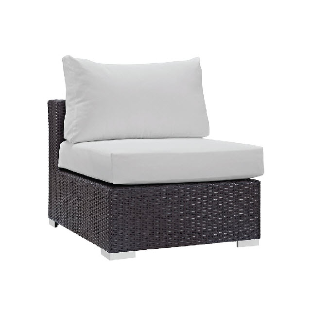Trinidad Outdoor Armless Chair In Espresso White