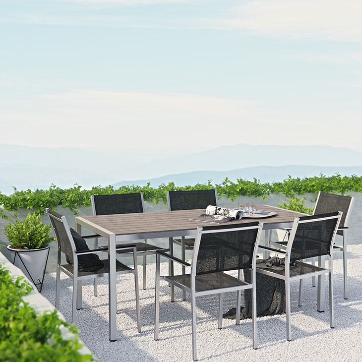 Mandalay   Dining Collection   Enjoy your patio or backyard leisure time with the strong and durable Mandala y  Outdoor Dining Set. Made with an anodized brushed aluminum frame and non-marking black plastic foot caps,   Click to shop this collection .   Mandalay Lounge Collection also available.